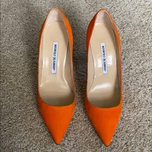 Manolo Blahnik Bright Orange Suede High Heels 35.5